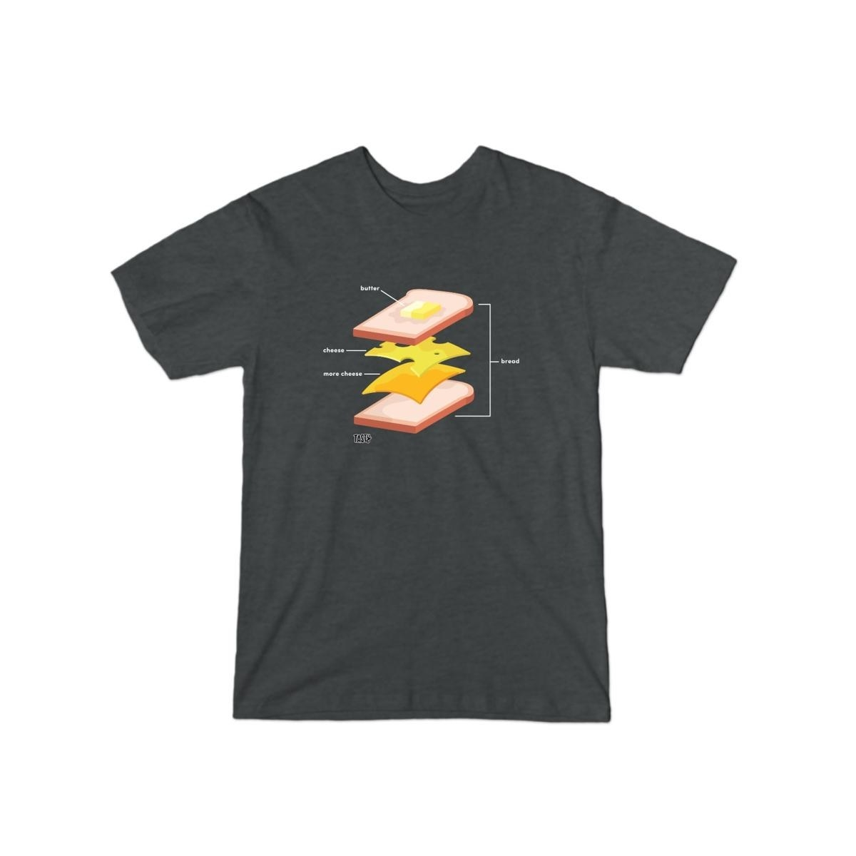 a gray t-shirt with a diagram of how to make a grilled cheese on it