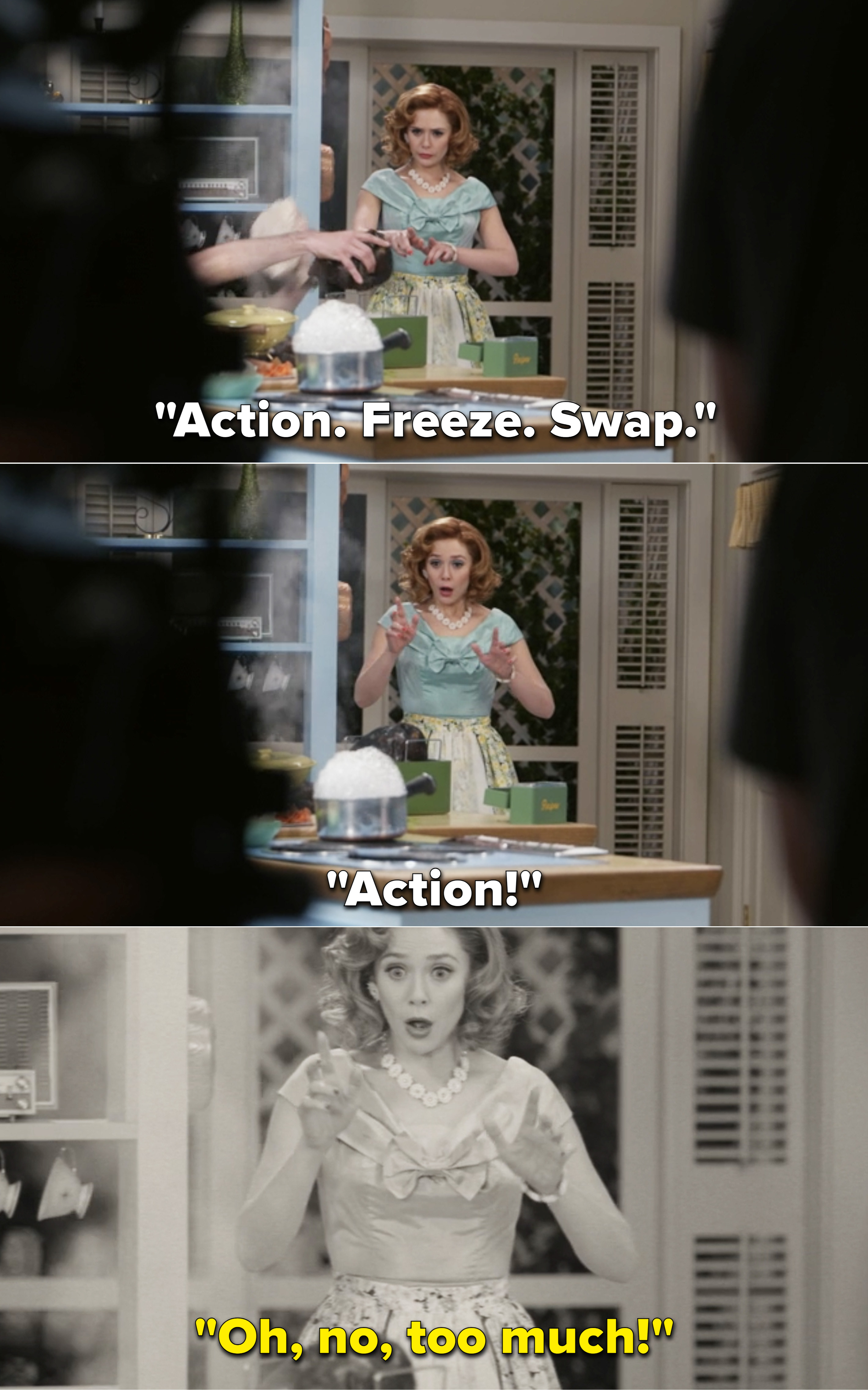 """Someone saying, """"Action. Freeze. Swap. Action"""" while Elizabeth Olsen films a scene"""