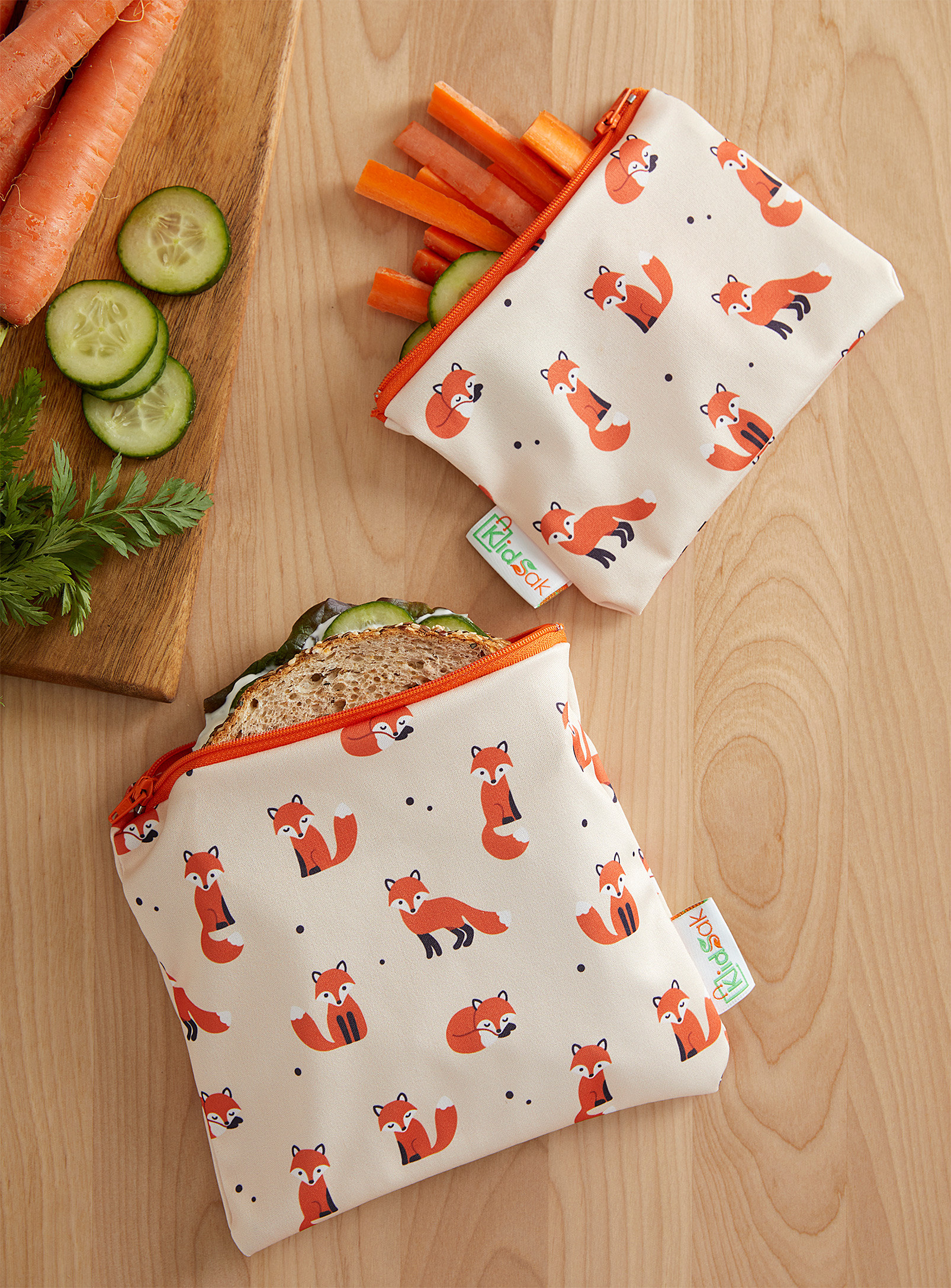 Two fox-pattern snack bags of different sizes