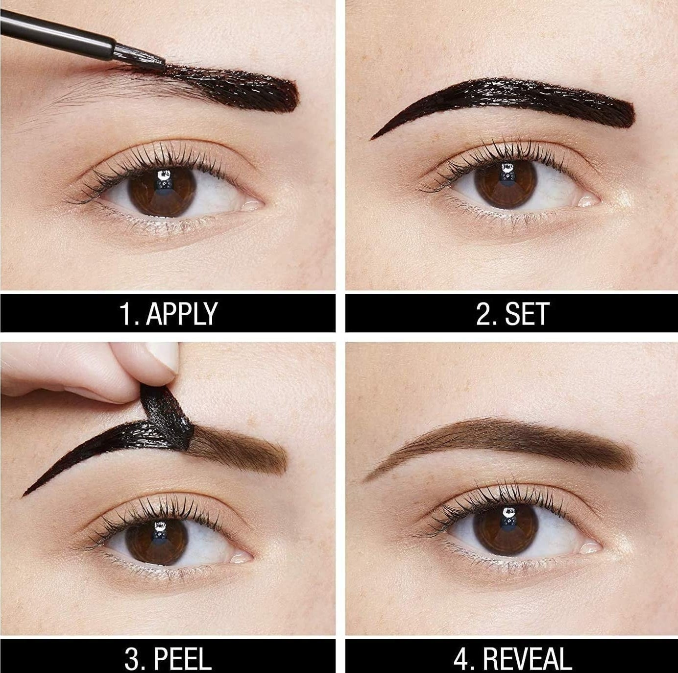 the four steps for using the brow tattoo, apply, set, peel, and reveal