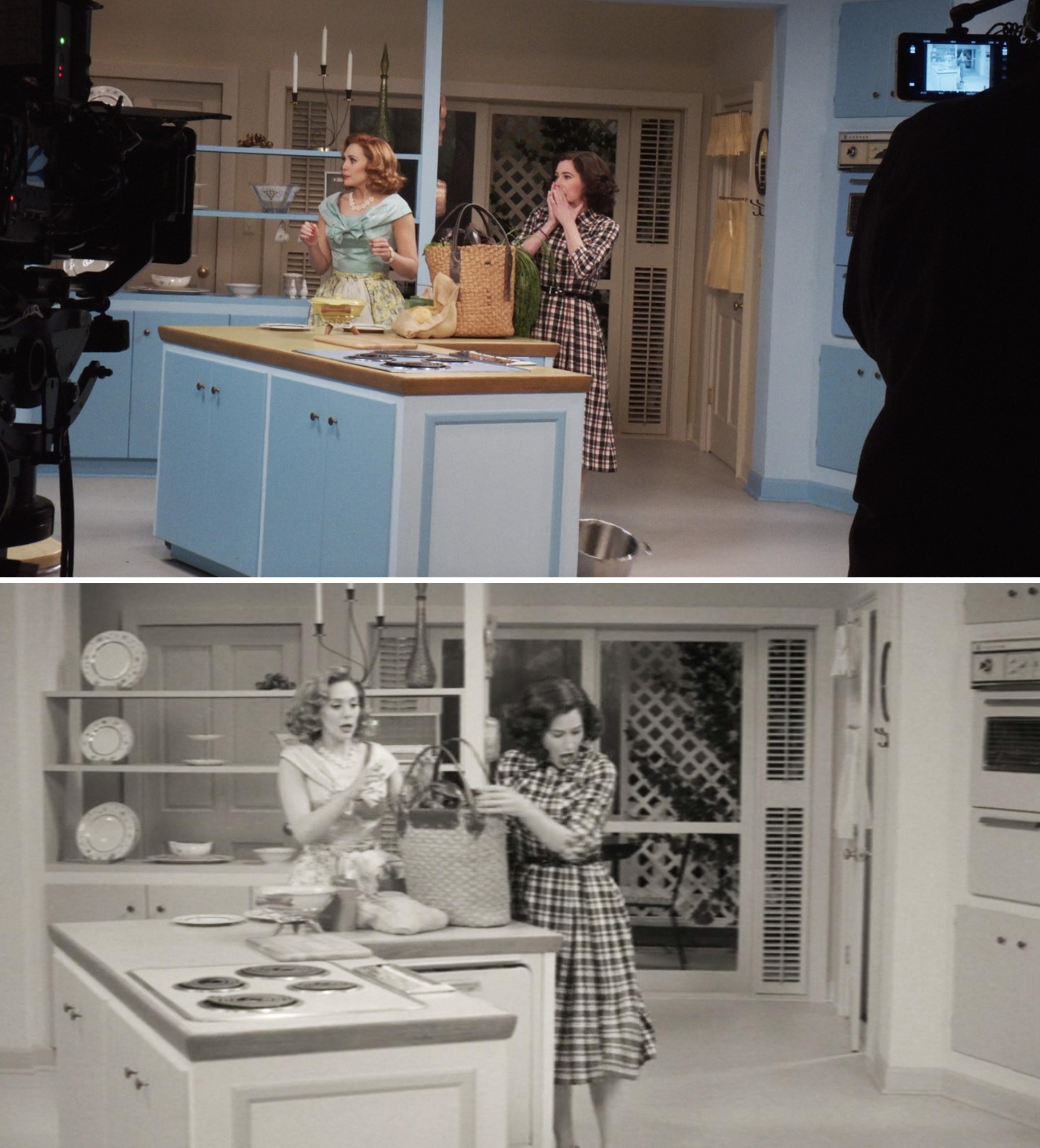 Elizabeth Olsen and Kathryn Hahn filming in Wanda and Vision's kitchen in Episode 1