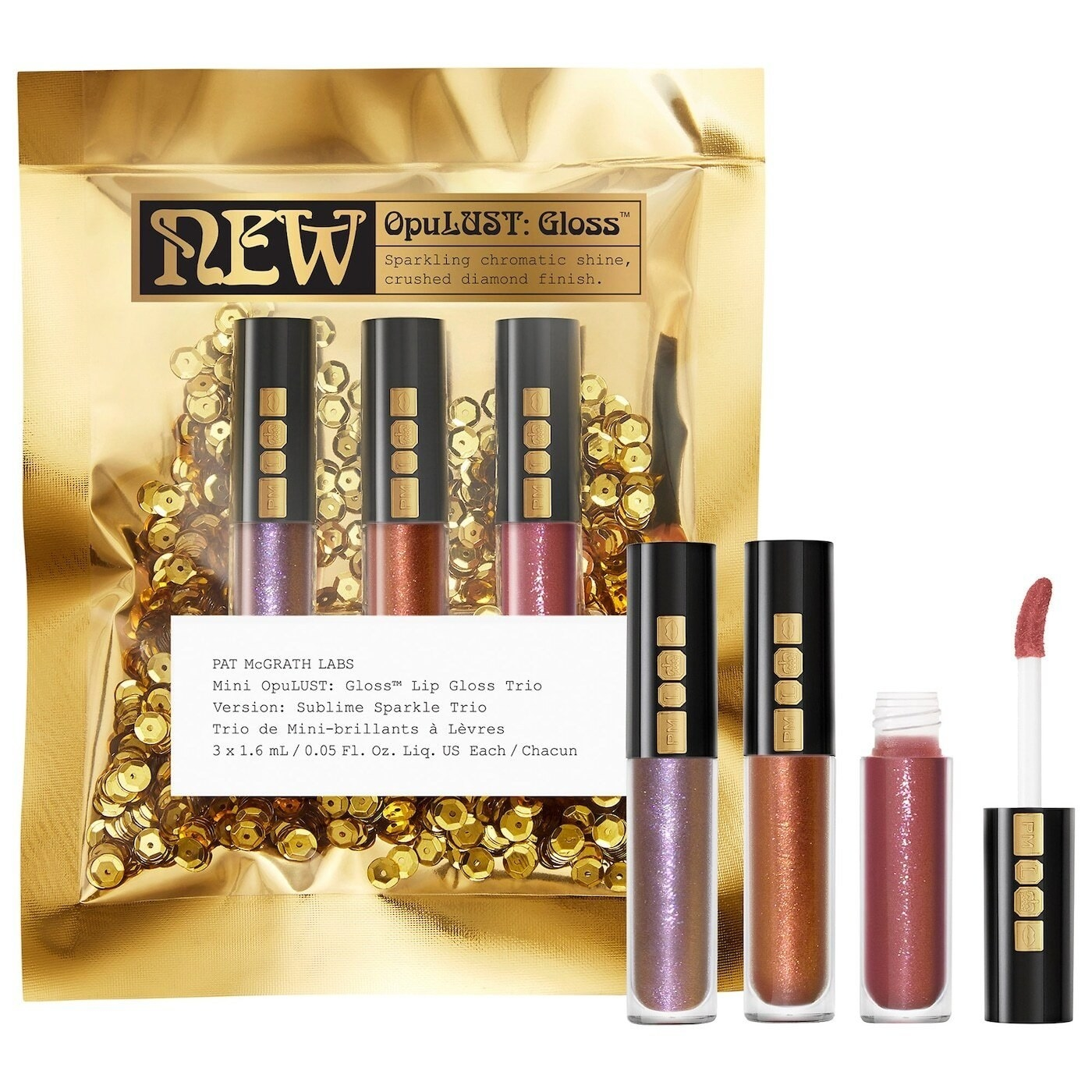 purple, rose gold, and pink chromatic lip glosses in gold packaging