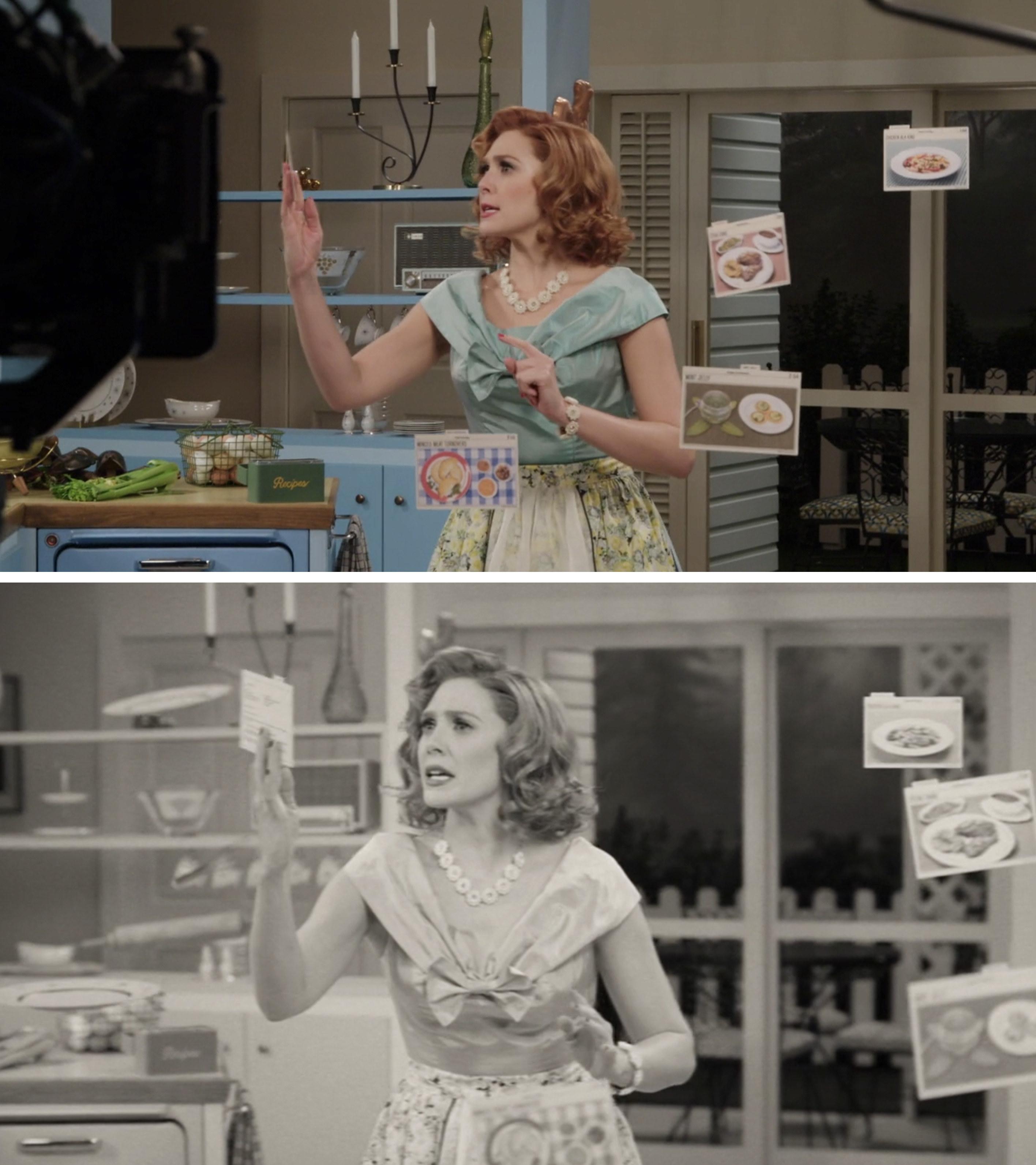 Elizabeth Olsen as Wanda looking for a recipe in Episode 1