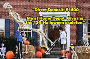 A father and son setting up a 12ft skeleton from Home Depot with text reading,