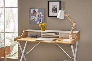 The wood and white desk