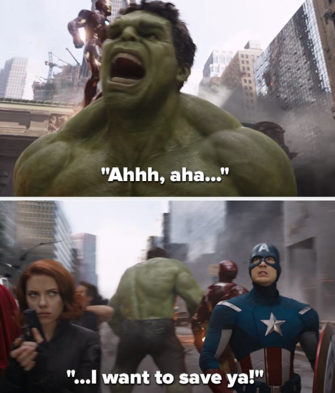 """the camera circles around avengers as the song goes """"Ahhh...ah...I want to save ya!"""""""