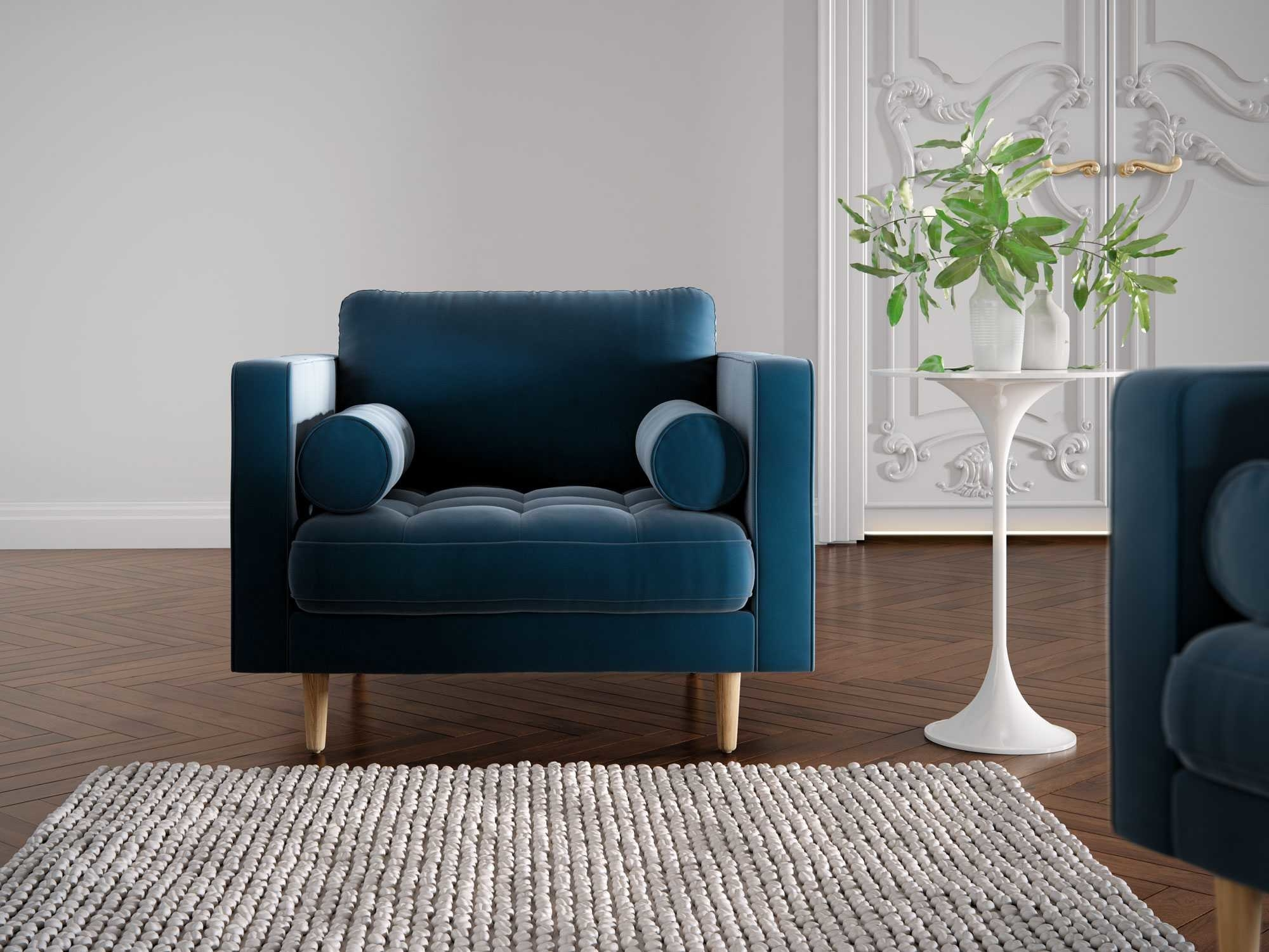the chair in blue