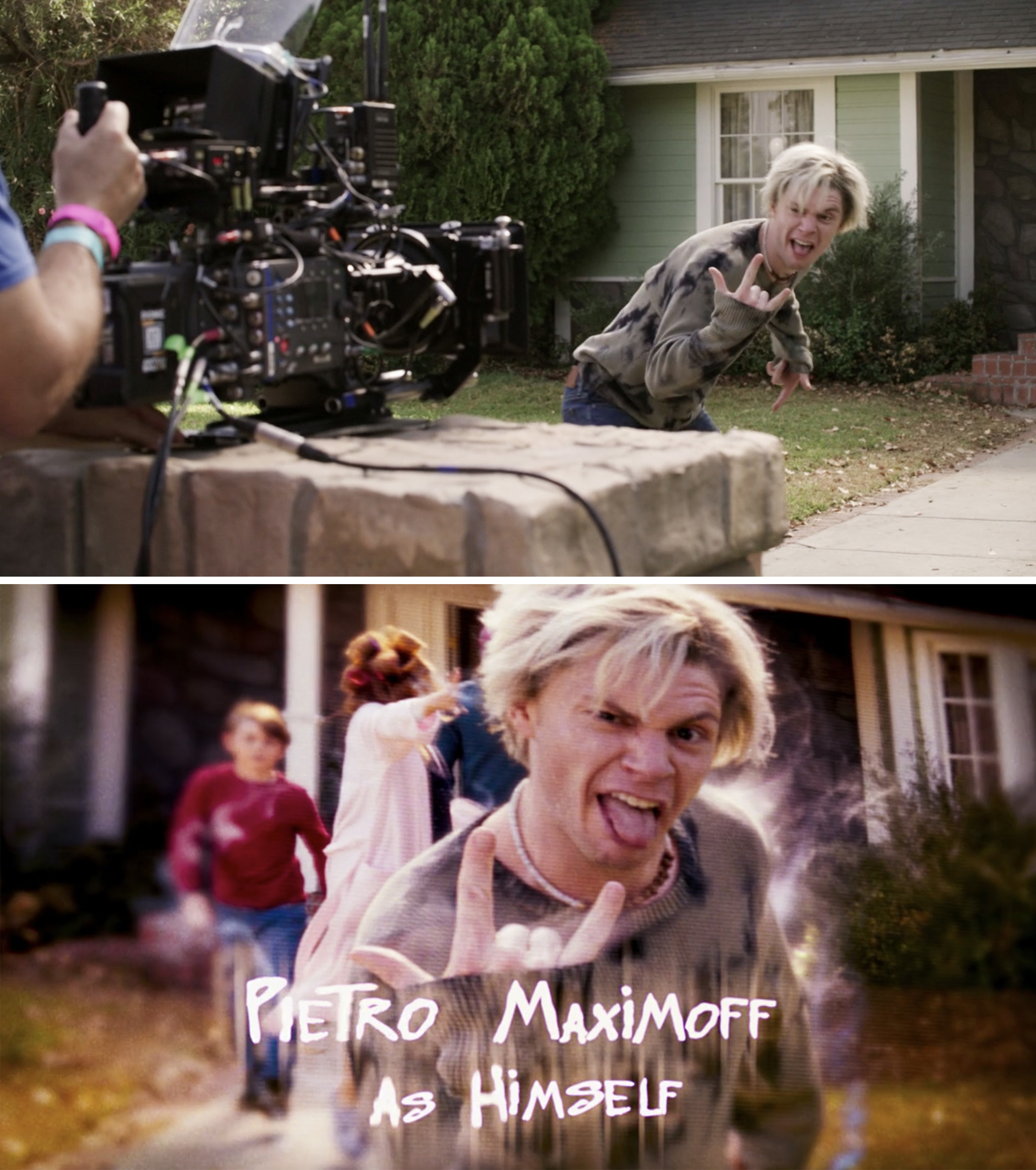 """Evan Peters as Pietro giving a """"rock on"""" sign to the camera"""