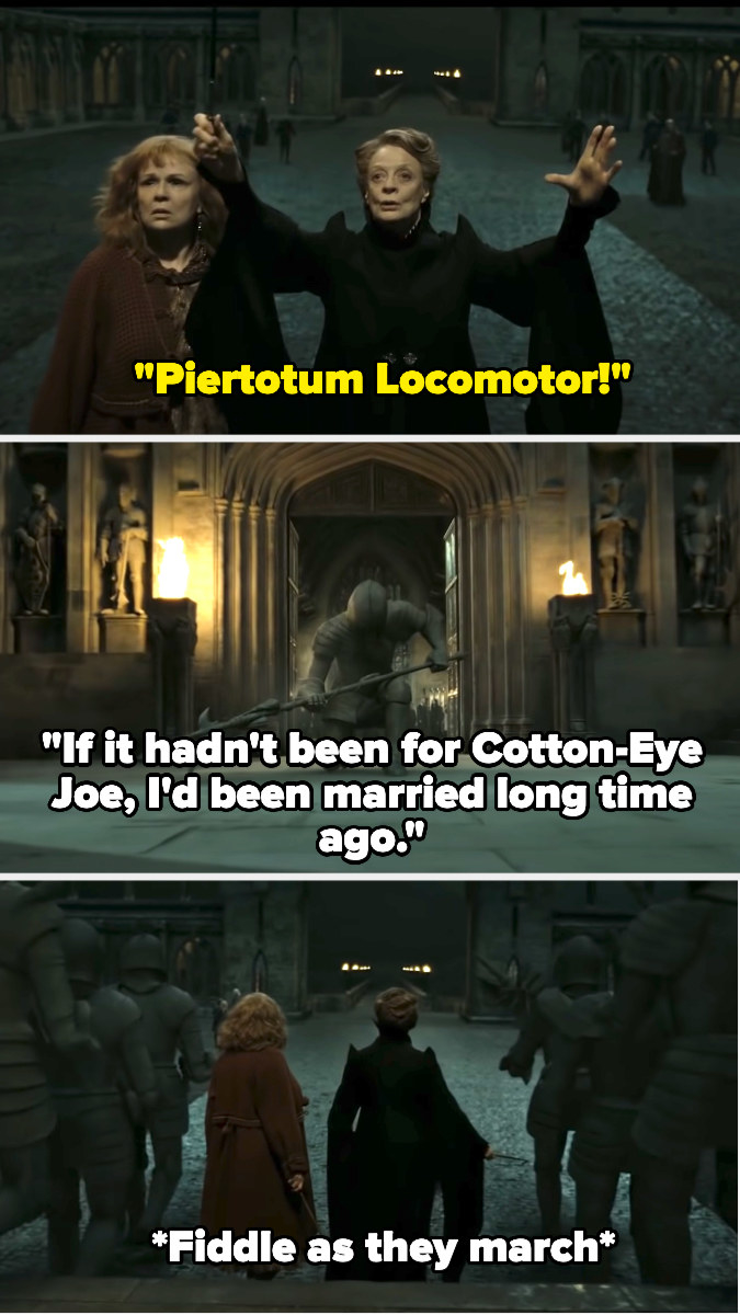 McGonagall enchants the statues, and as they fall, Cotton-Eye Joe begins playing, the fiddle going as they march