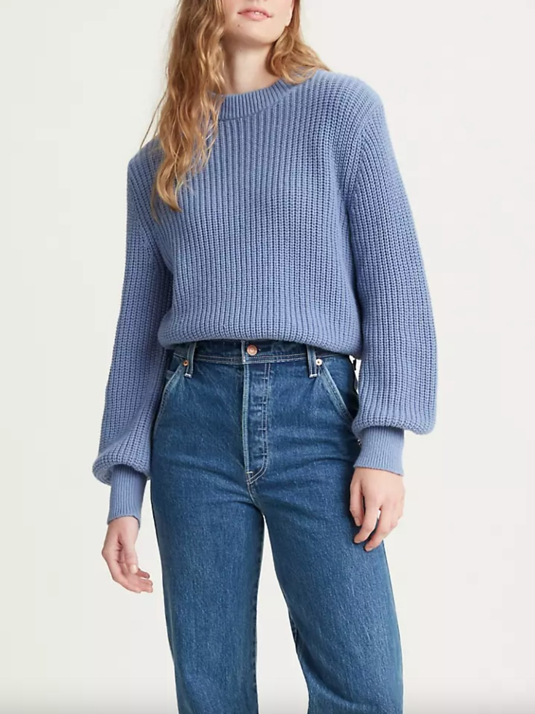 The knit sweater in colony blue