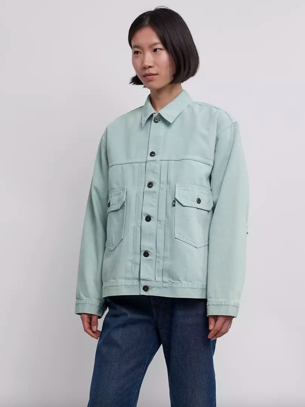 The jacket in glimmer blue