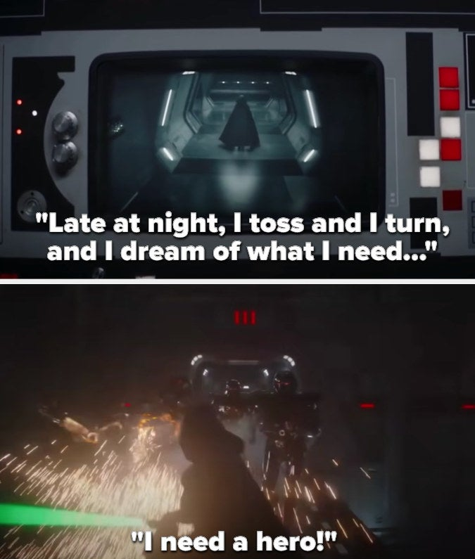 """as Luke enters, the song says """"Late at night, I toss and I turn, and I dream of what I need..."""" then jumps into """"I need a hero!"""" as he starts destroying the droids"""