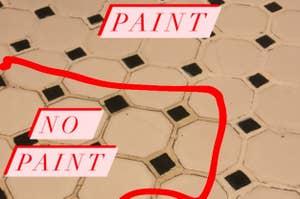 closeup of half of tile floor painted, then half not painted