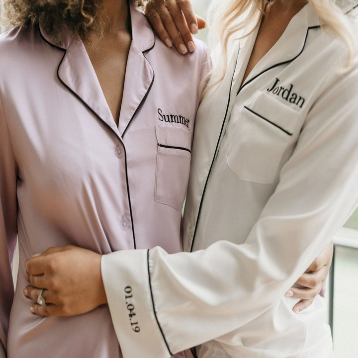 a close-up of the personalized pajamas with names and dates