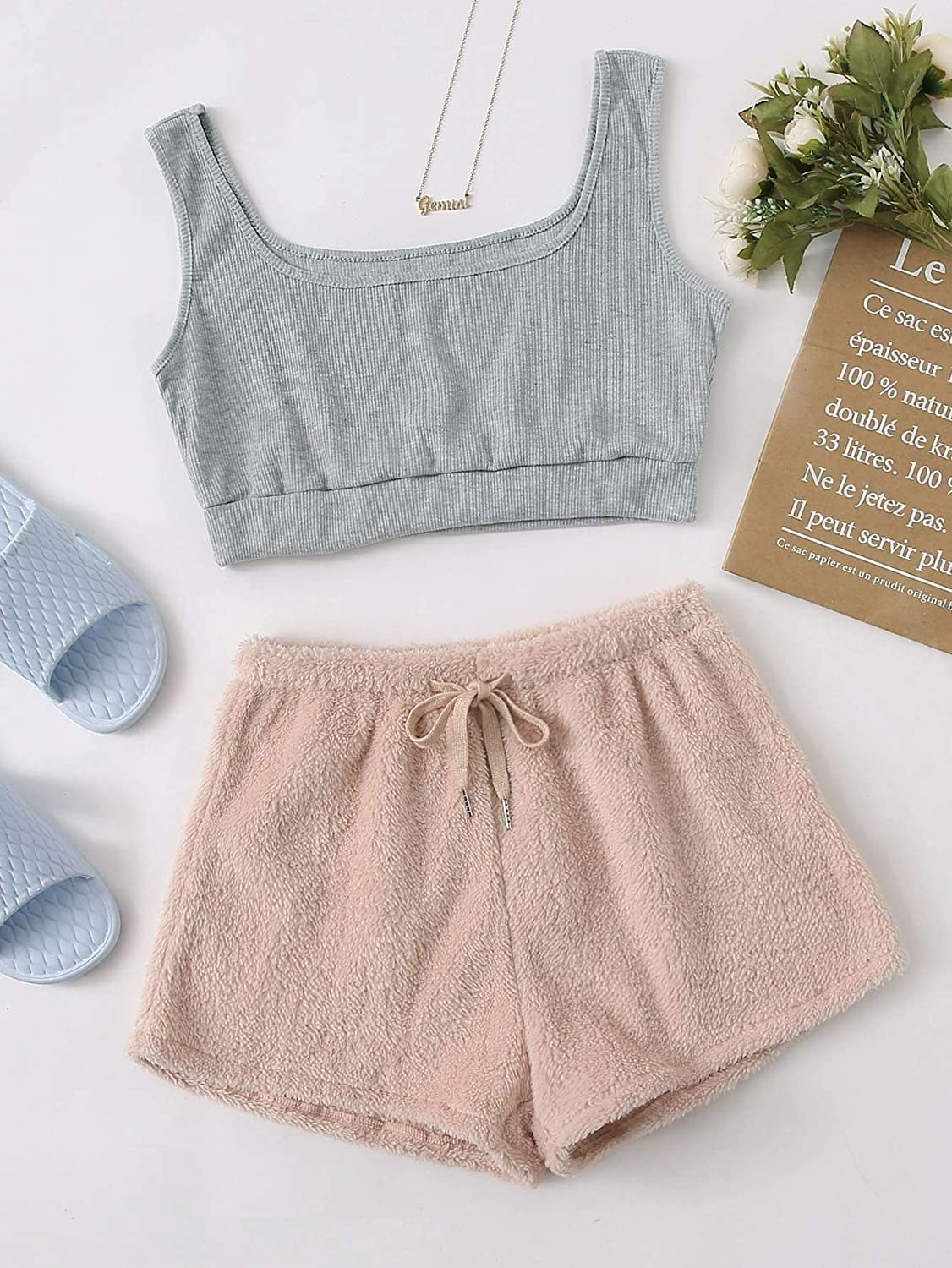the gray top and pink bottoms
