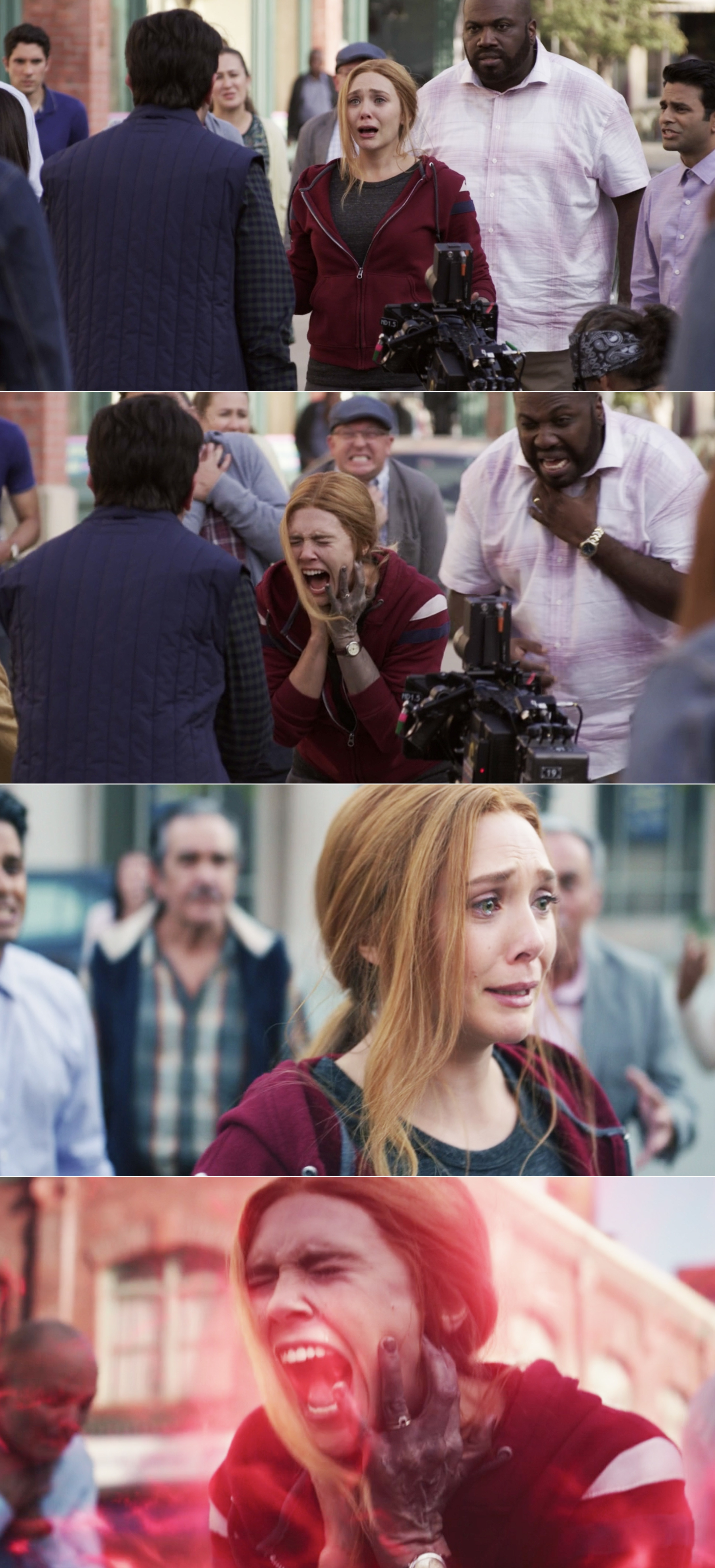 Elizabeth Olsen crying and screaming as Wanda and before-and-after visual effects