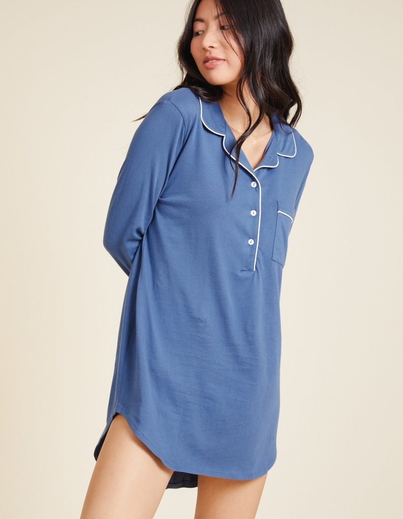 model wearing the blue shirt dress