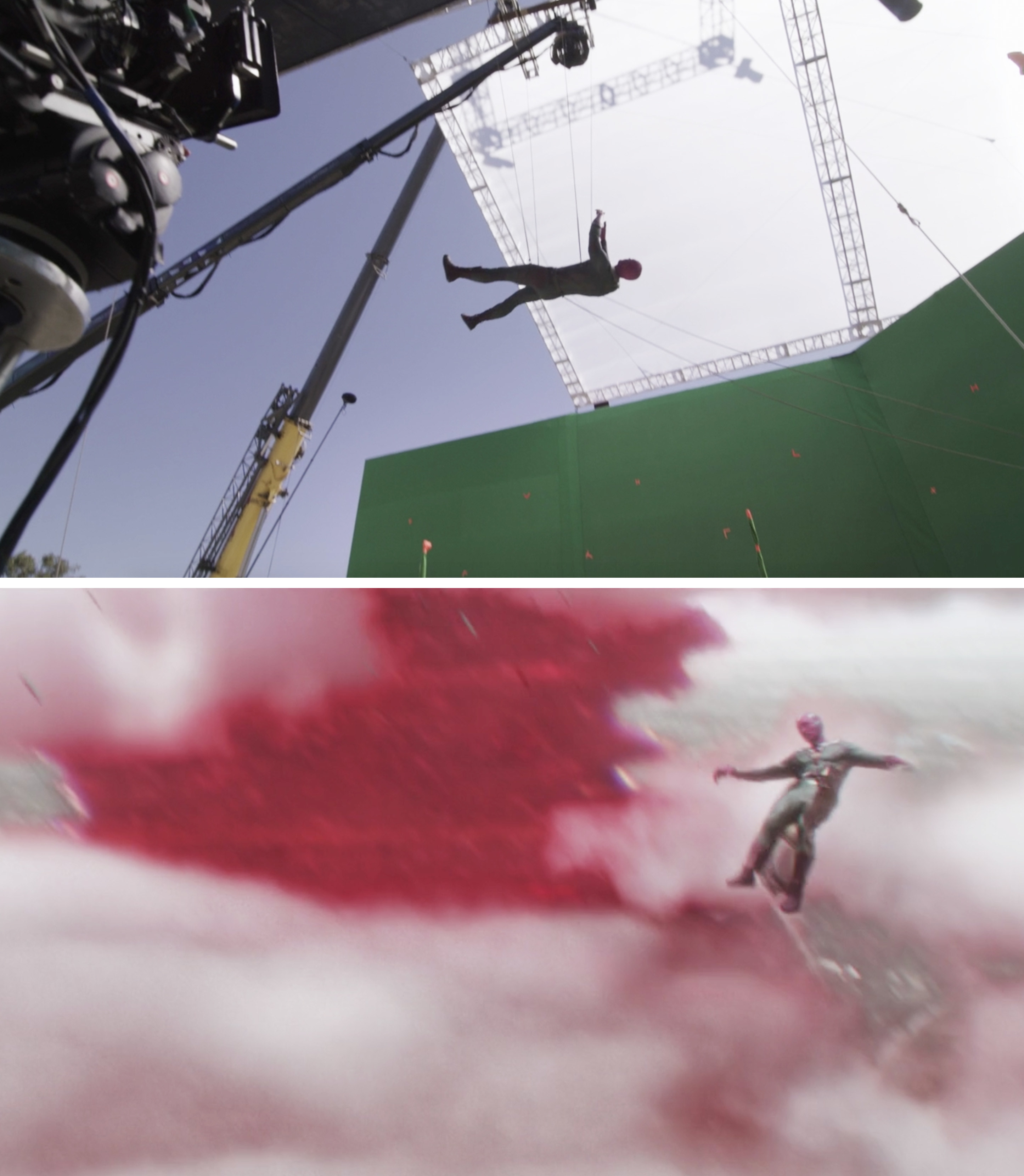 Paul Bettany on a green screen and being lowered to the ground