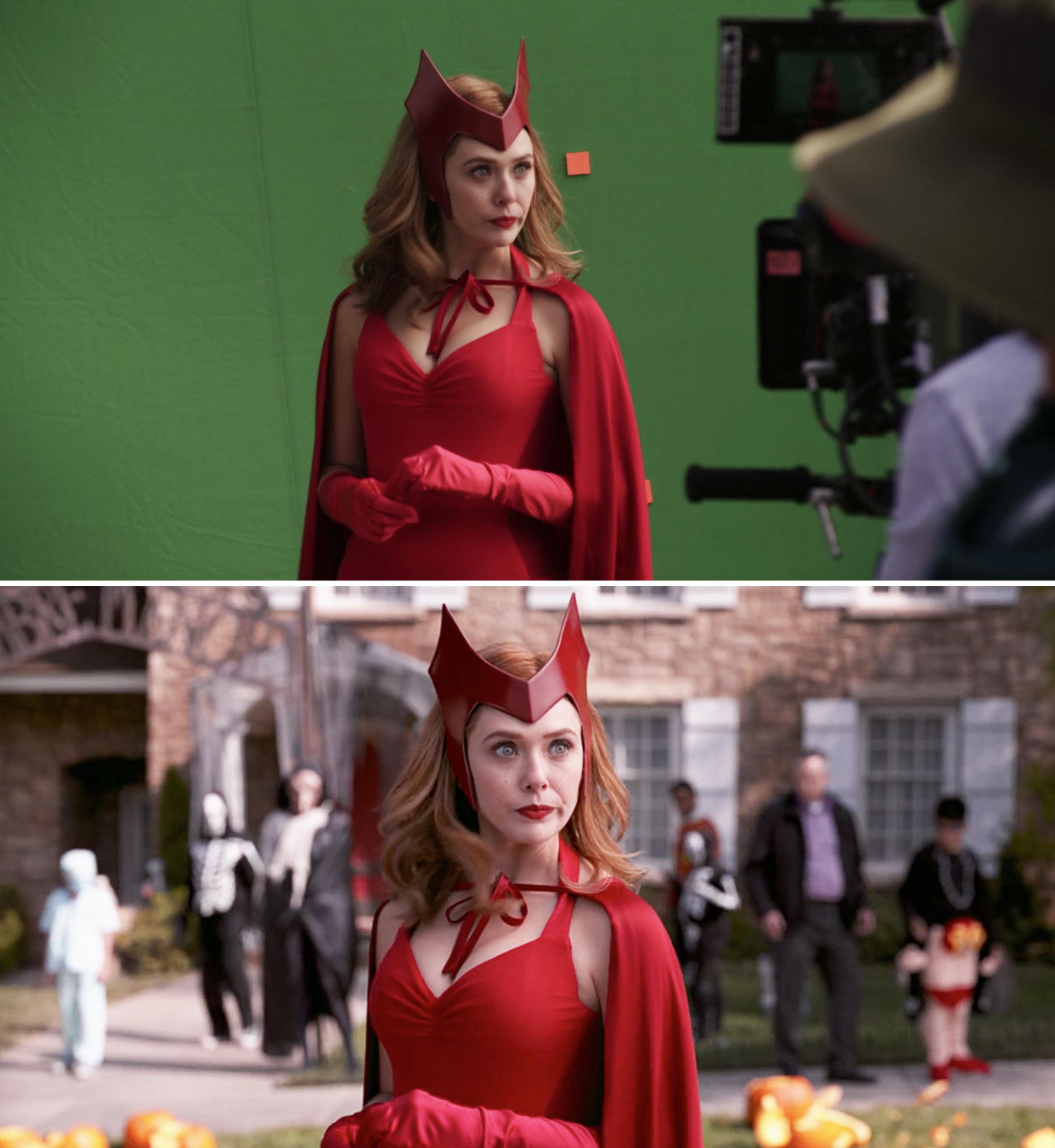 Elizabeth Olsen as Wanda in her Halloween costume filming on a green screen