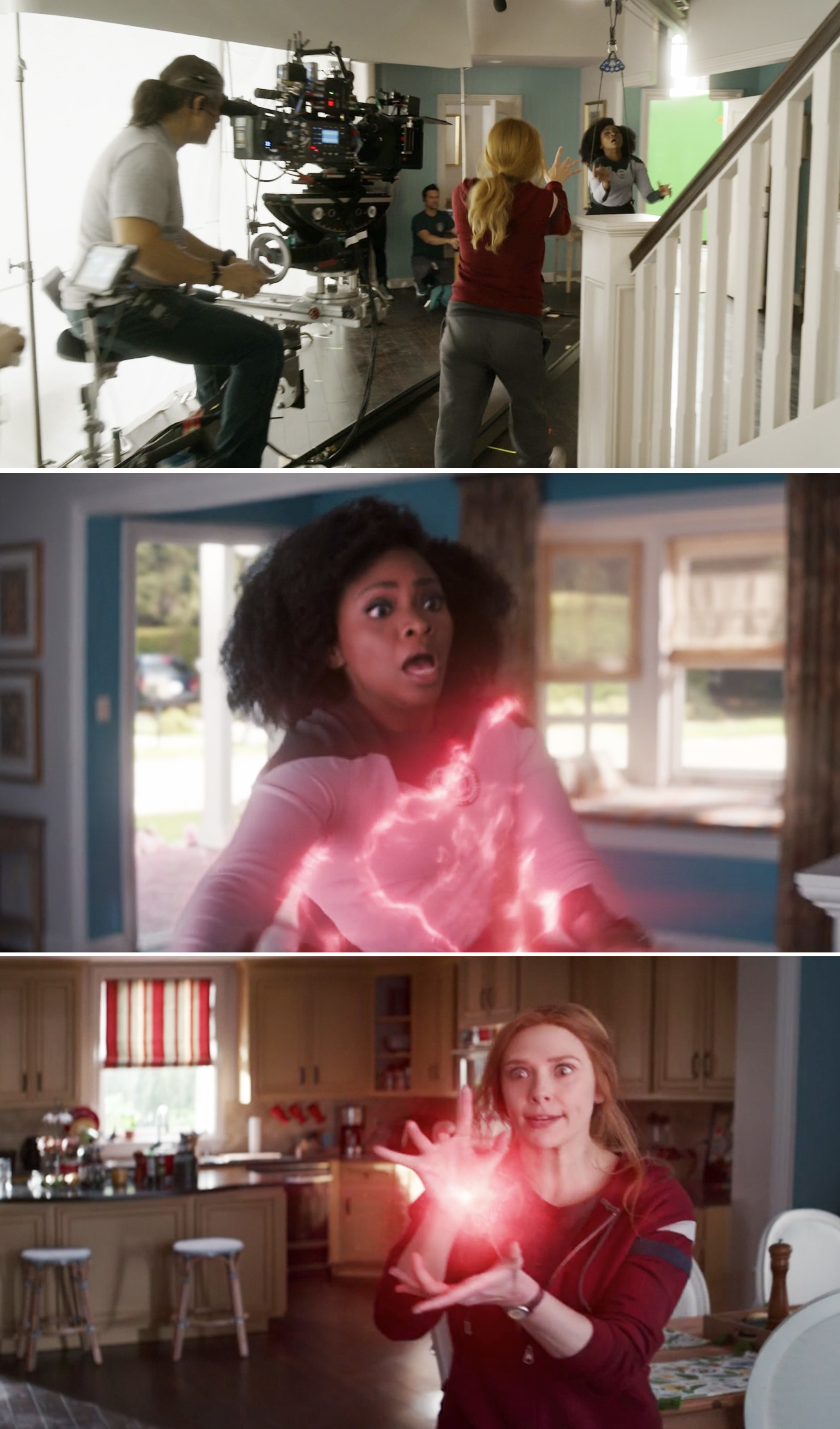 Wanda throwing Monica out of her home using magic before and after visual effects
