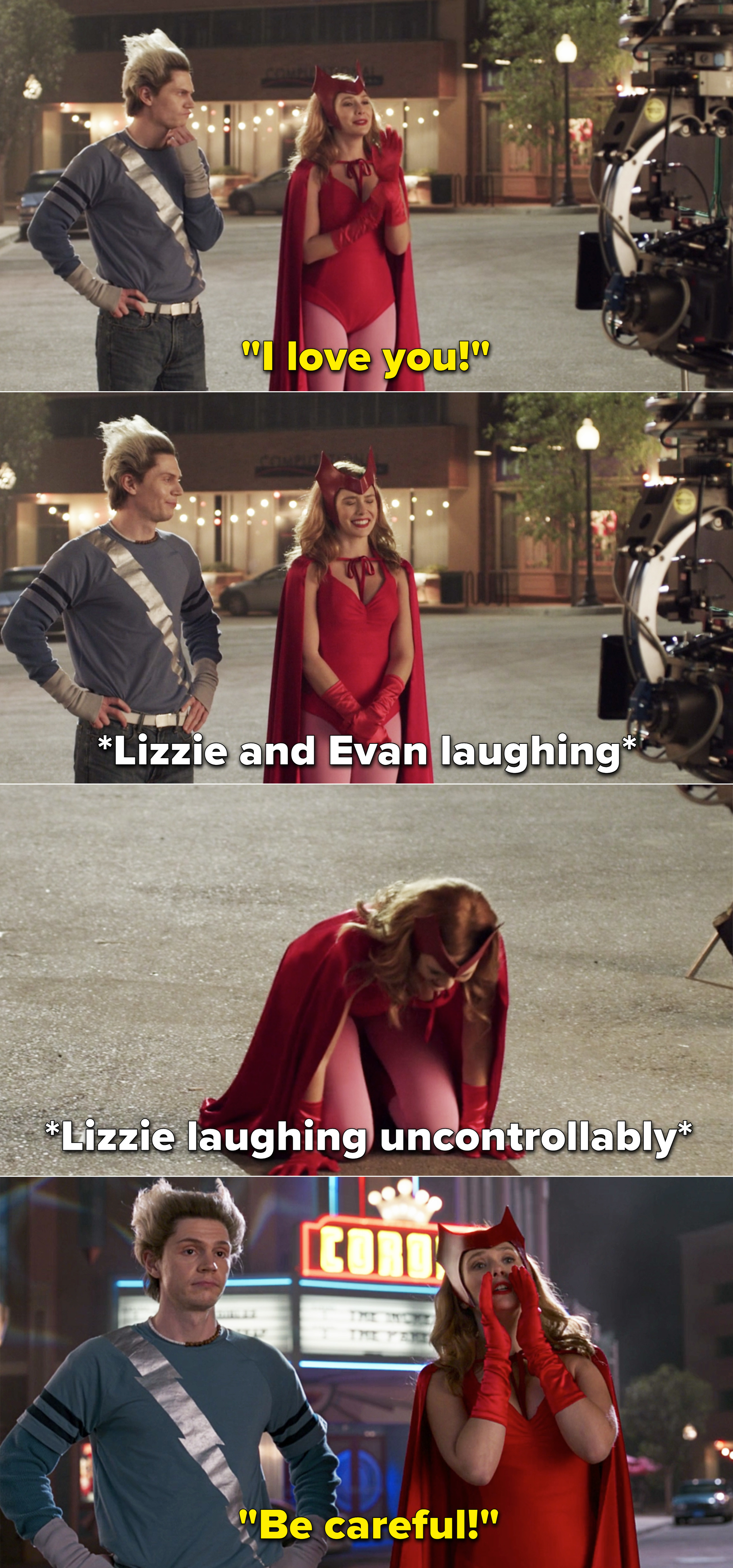 """Elizabeth Olsen saying, """"I love you"""" and then laughing hysterically and falling to the ground"""