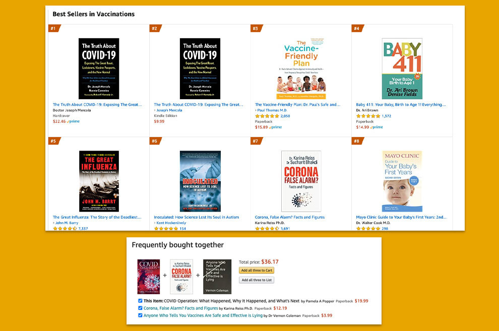 """Screengrabs of the list of bestselling books on Amazon show titles like """"The Truth About COVID-19"""" and """"Corona False Alarm?"""""""