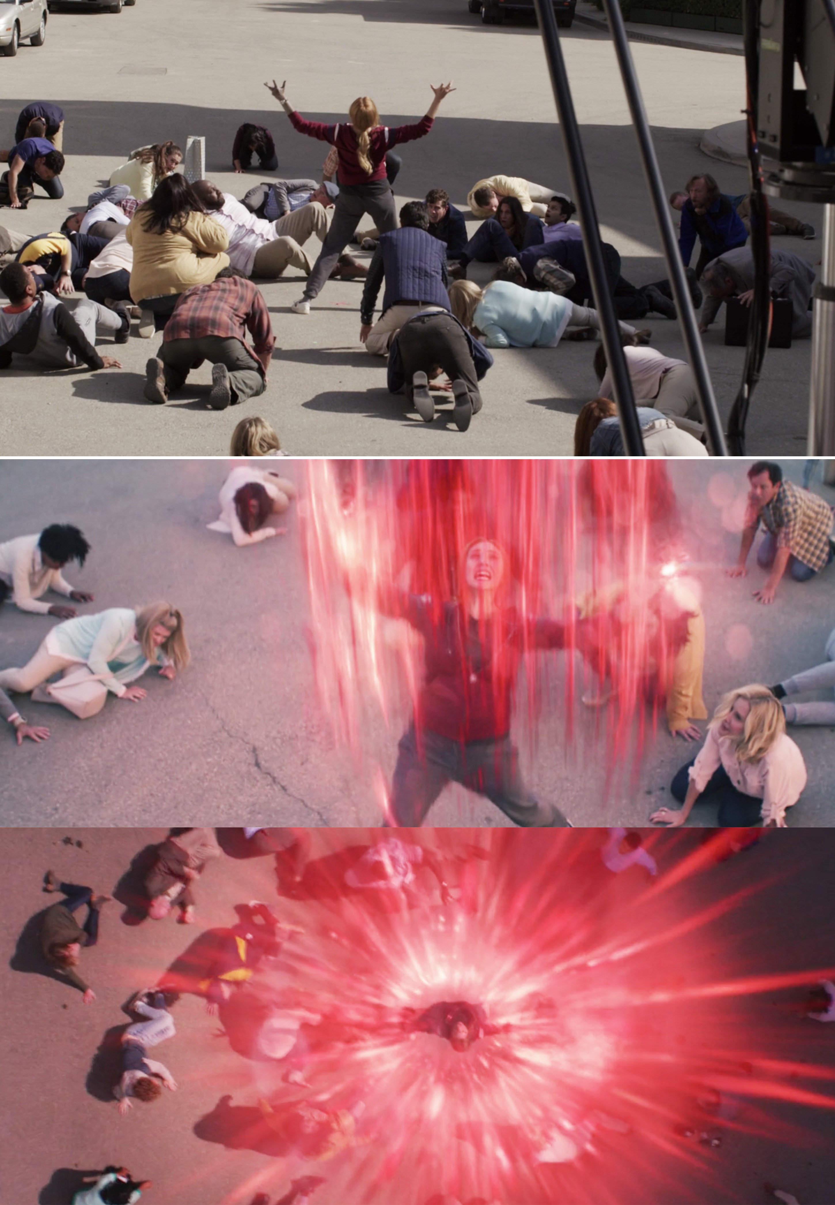 Wanda opening the Hex before and after visual effects