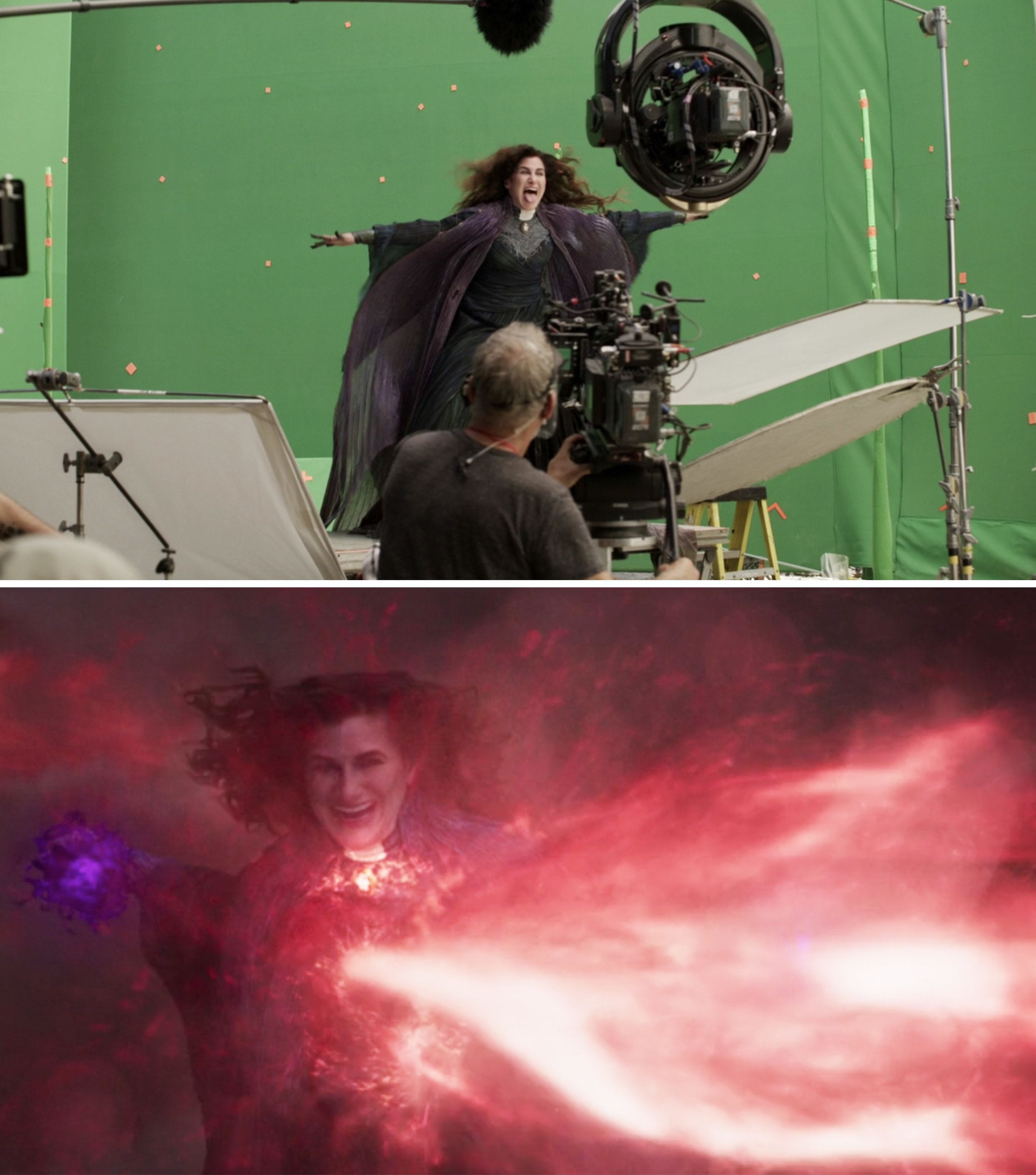 Kathryn Hahn on a green screen vs the final shot with visual effects
