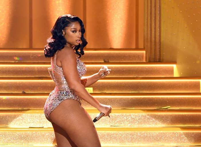 Megan Thee Stallion performs at the 2021 Grammy Awards