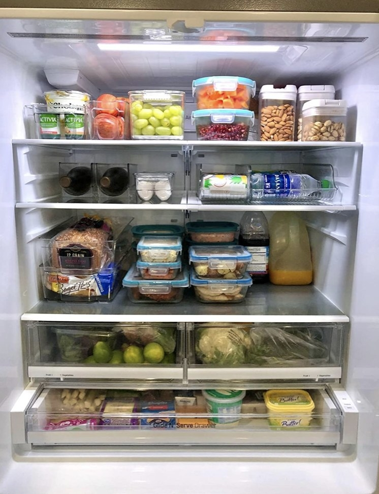 Refrigerator storage containers in a reviewer's fridge