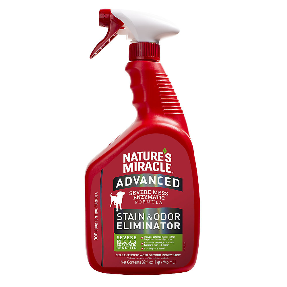 red bottle of nature's miracle stain & odor eliminator