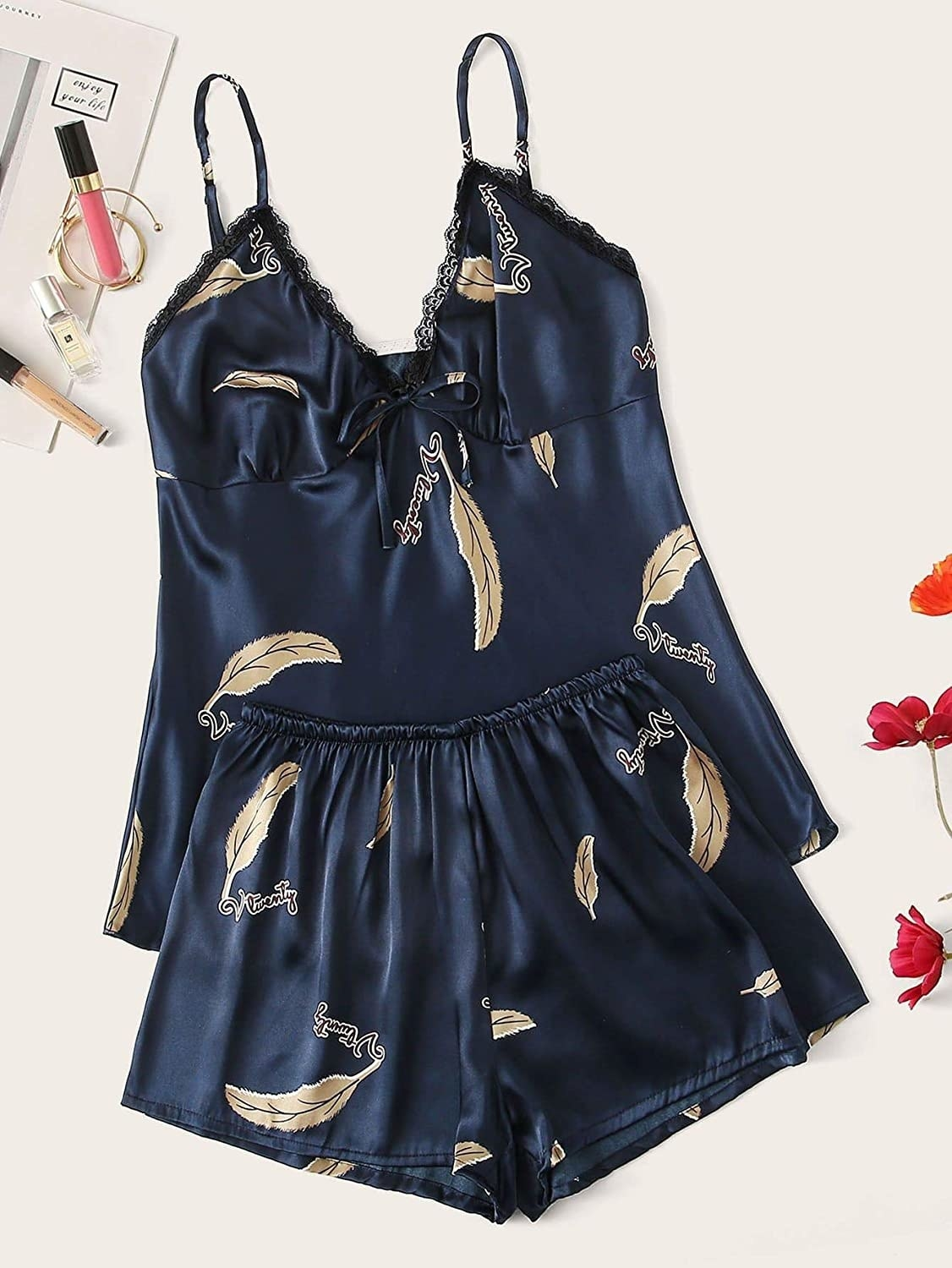the blue satin set with feather design