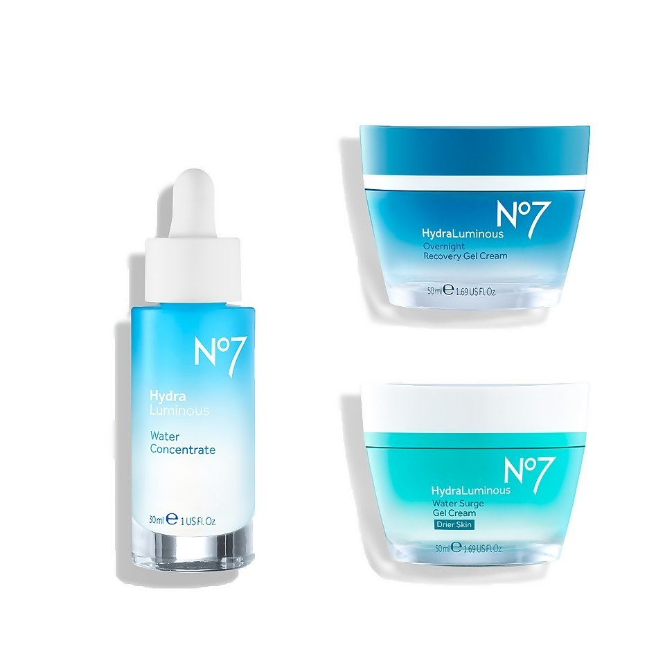 the set with water surge gel cream, water concentrate, and recovery gel cream products
