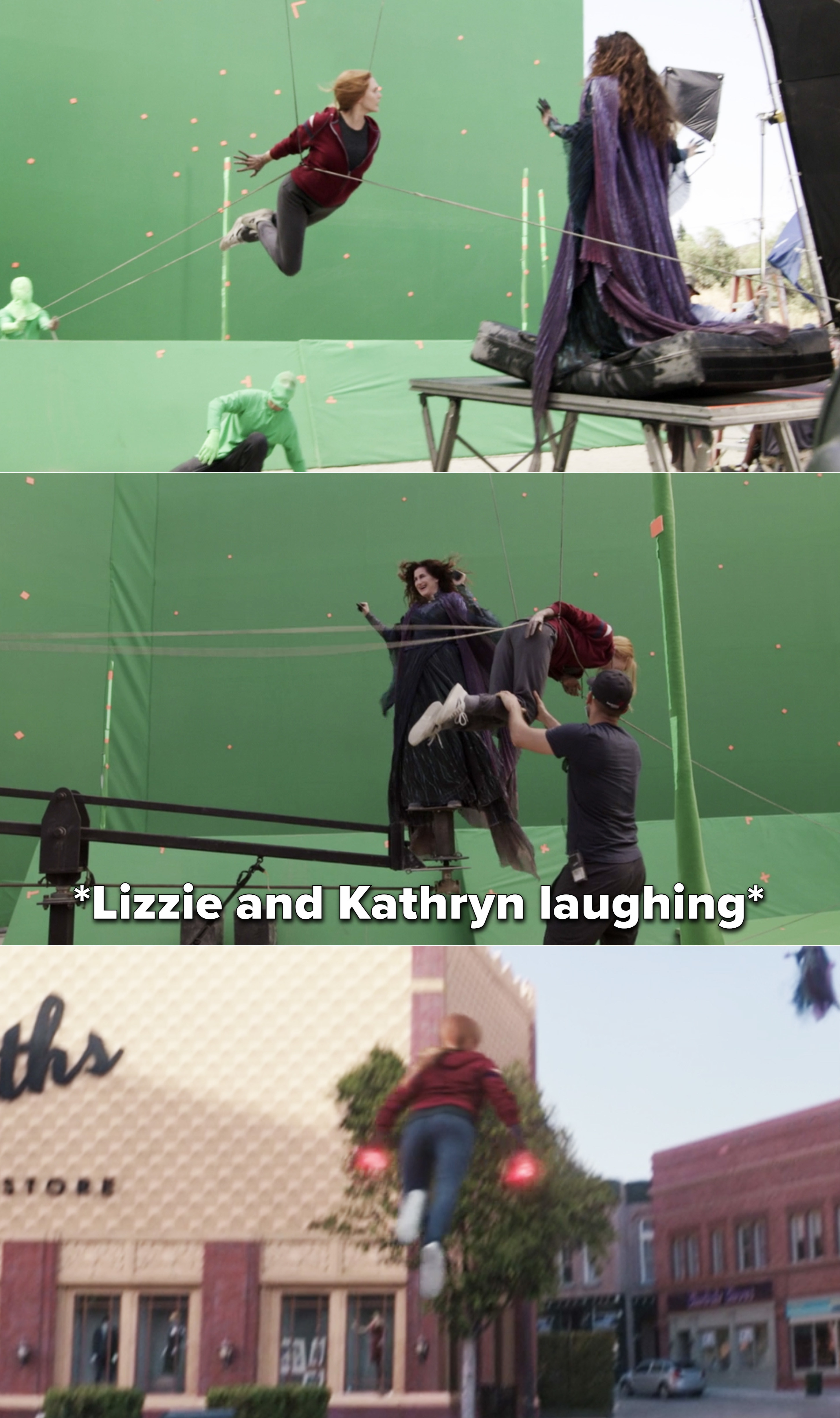 Elizabeth Olsen and Kathryn Hahn laughing while floating in the air on a green screen
