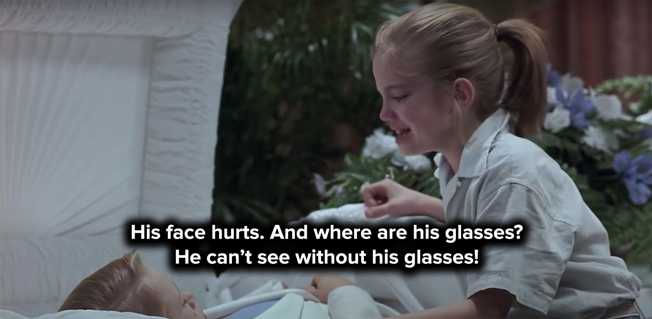 Vada cries over Thomas J's casket