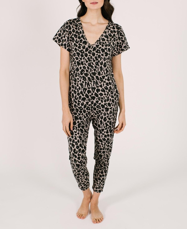 model wearing the leopard jumpsuit
