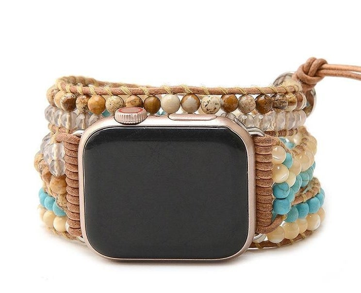a turquoise and natural beaded watch band