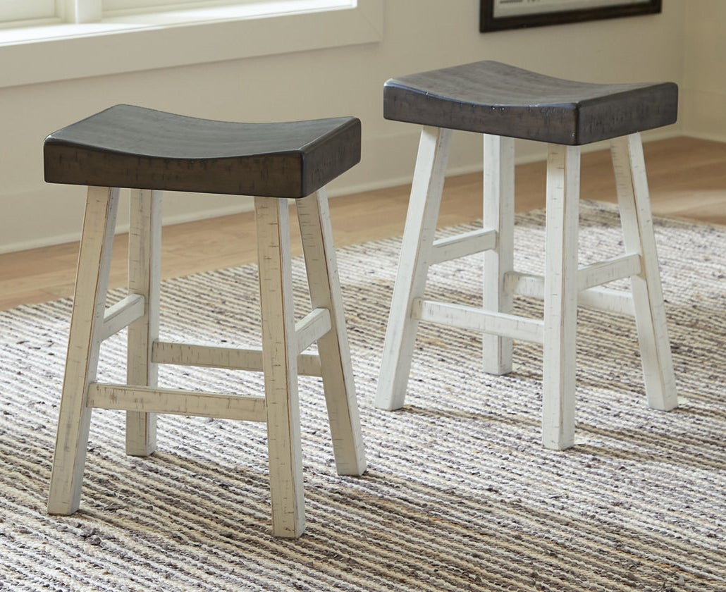 two bar stools in brown gray/antique white