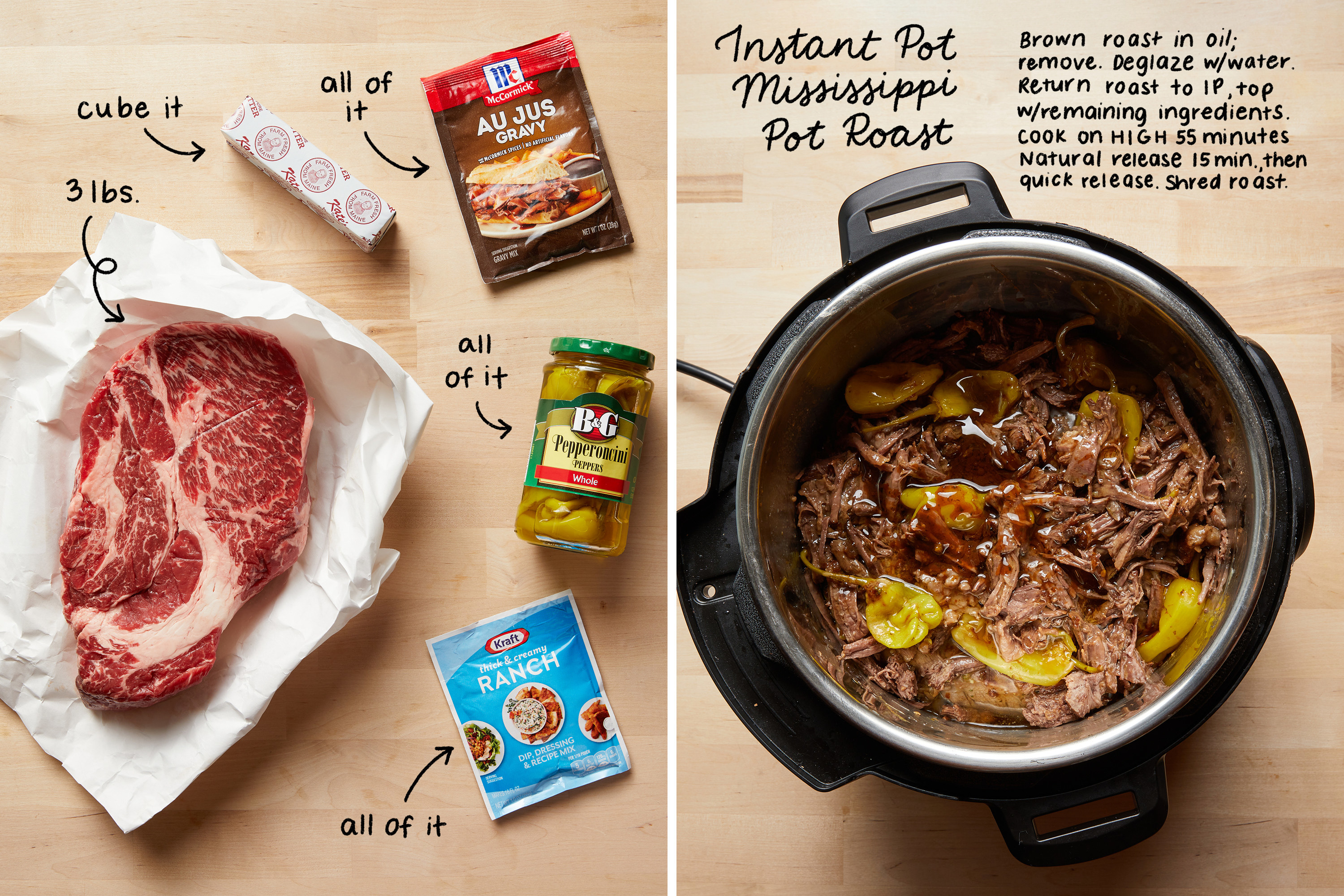Instant Pot Mississippi pot roast, before and after it's cooked