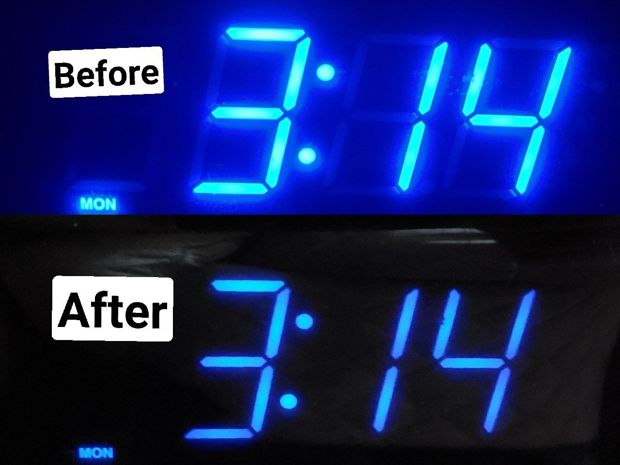 a before and after of a reviewer's clock with the numbers super bright and then toned down but still legible