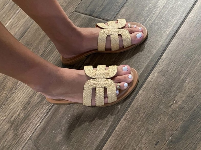 the sandals in the woven pattern