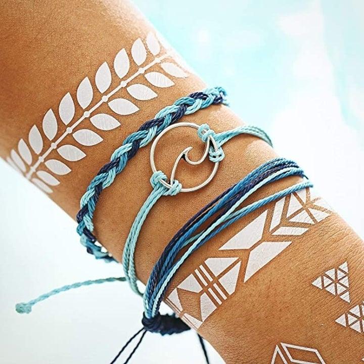 the bracelets on a wrist