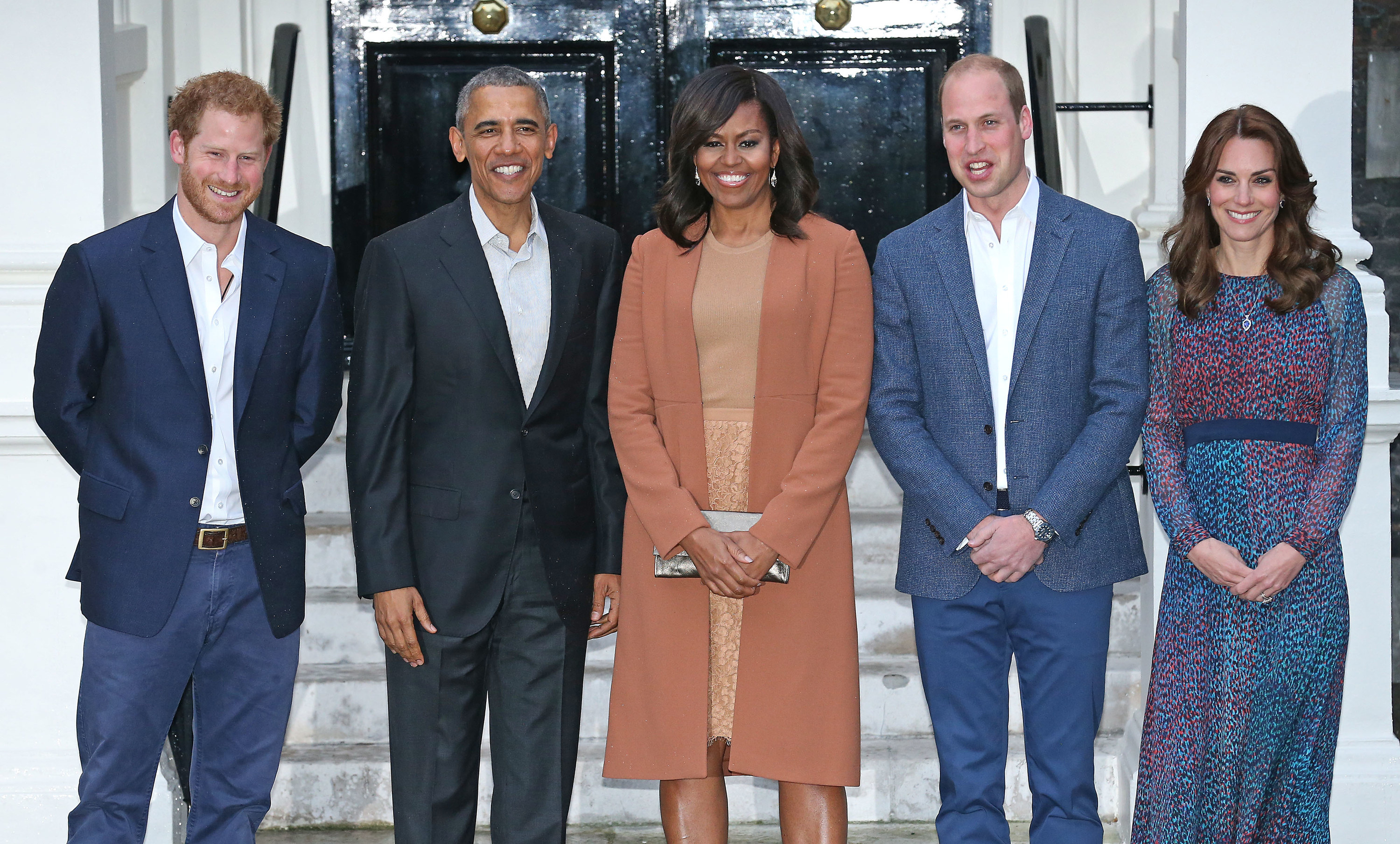 Michelle and Barack Obama stand with Harry as well as Prince William and Kate Middleton