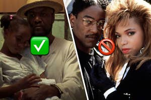 Delroy Lindo is holding Zelda Harris on the left labeled with a check, and Tisha Campbell Martin and Giancarlo Esposito labeled with a skip emoji