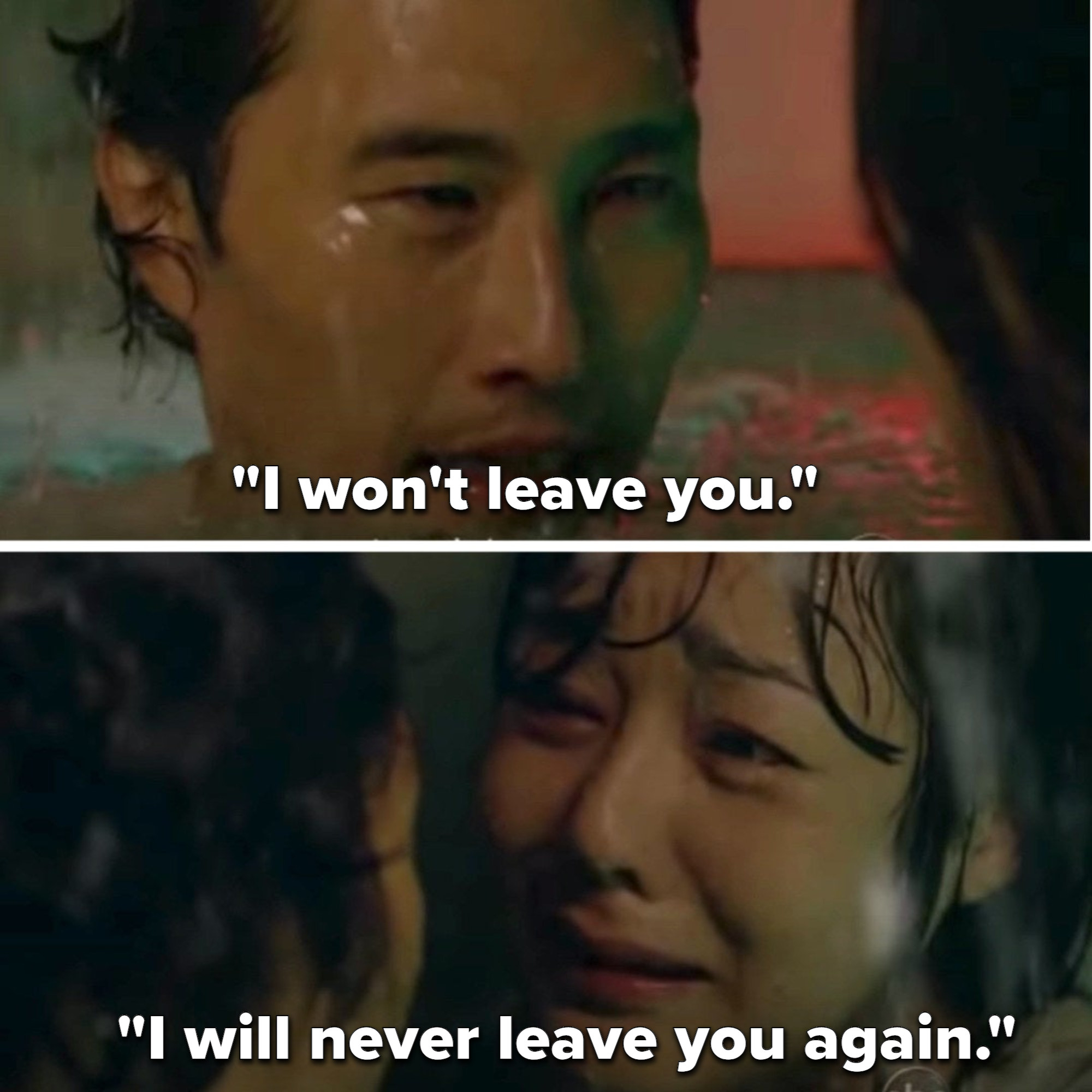 Jin tells Sun he won't leave her ever again as they drown