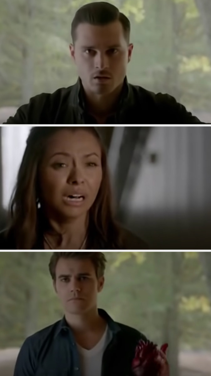 Stefan rips out Enzo's heart and Bonnie cries in shock
