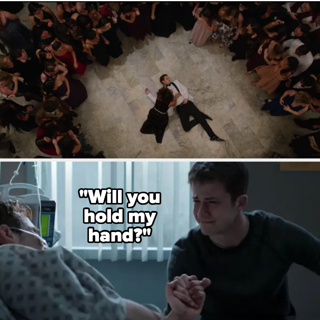 Justin collapses at the dance then asks Clay to hold his hand in the hospital