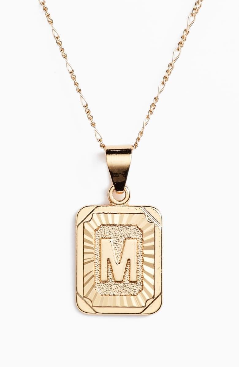 Gold m pendant