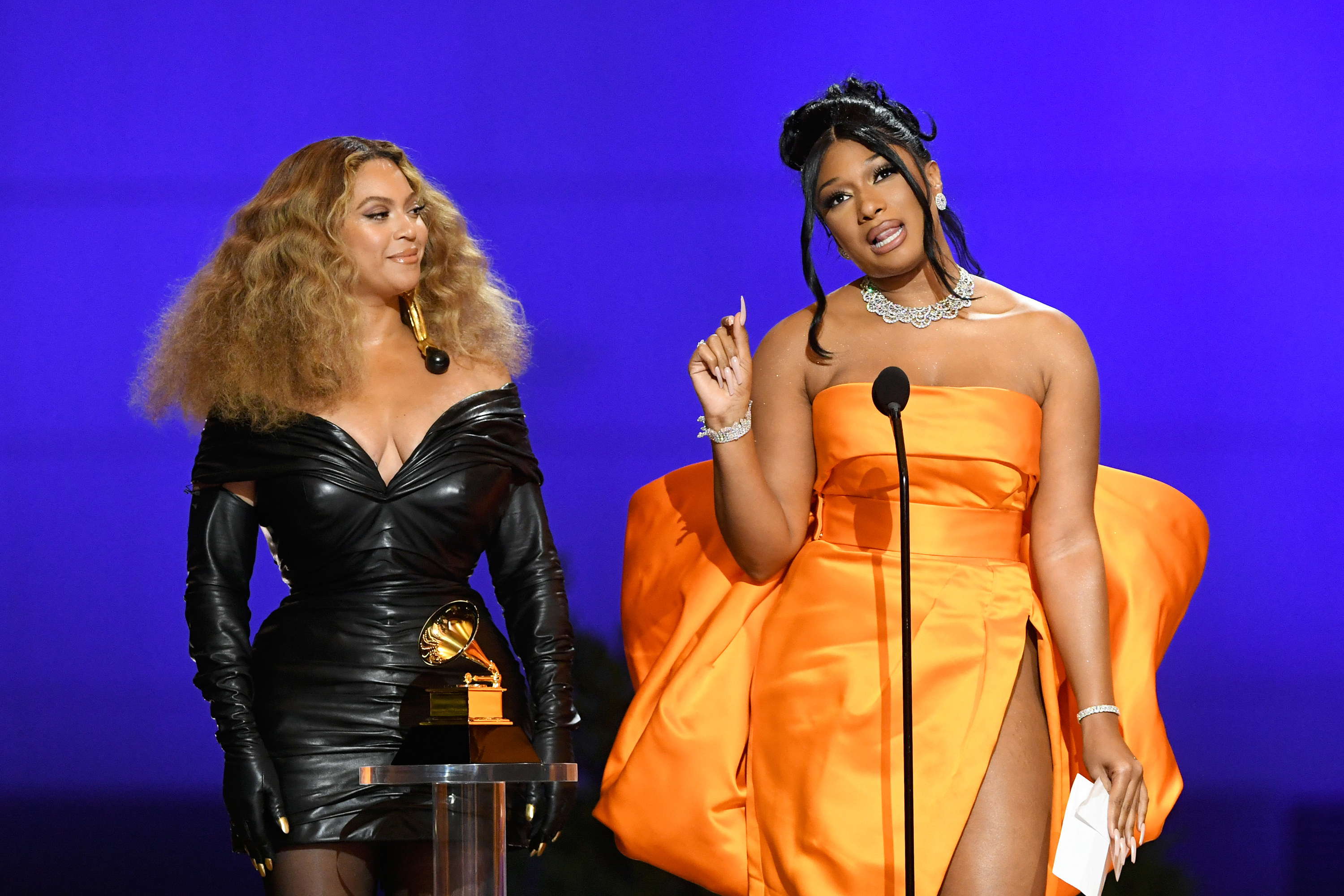 Beyoncé and Megan Thee Stallion accept the Best Rap Performance award at the 2021 Grammys