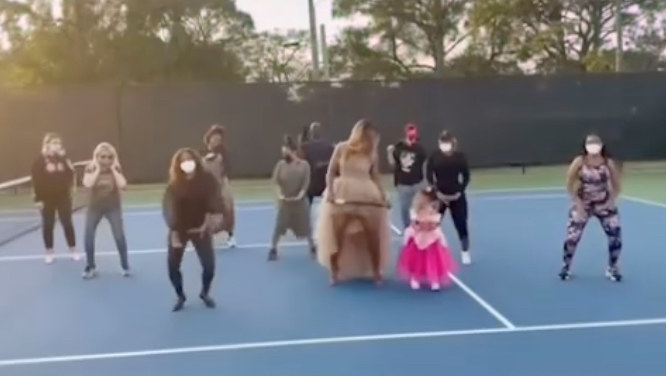 Serena and Alexis Williams and friends dance to Megan